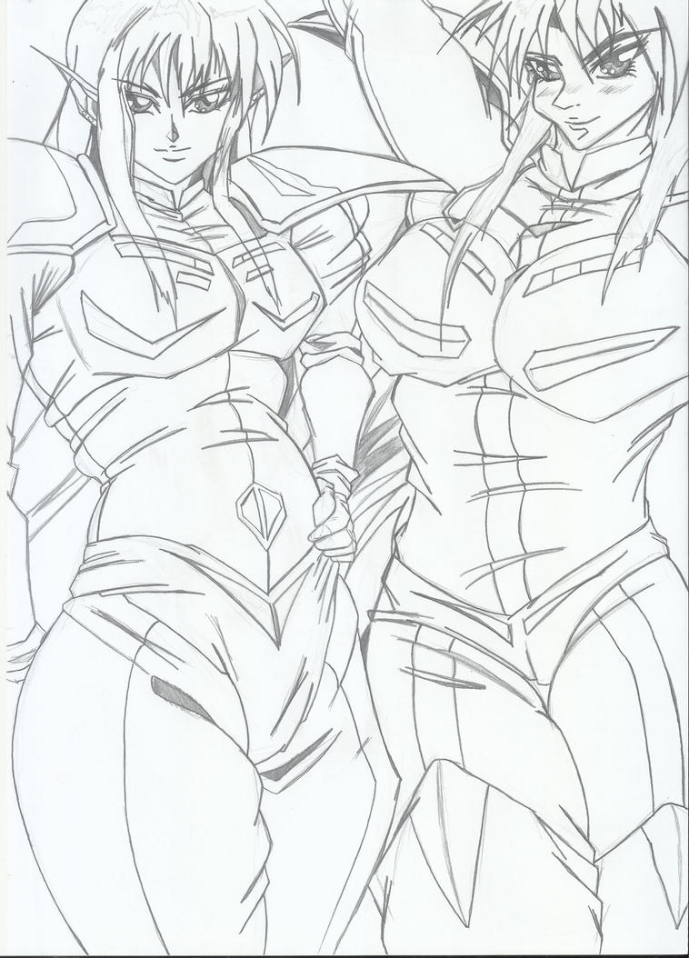 Twin Roses - Iczer-2 lineart by RyugaSSJ3