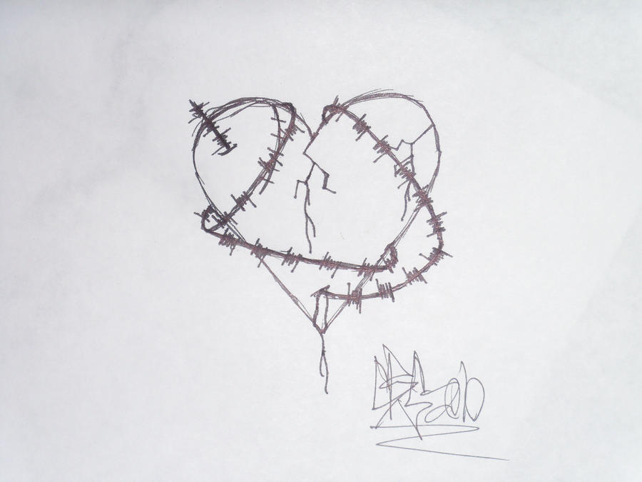barbed wire heart drawing - photo #14