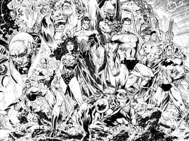 JUSTICE LEAGUE - Sample inks over Jim Lee