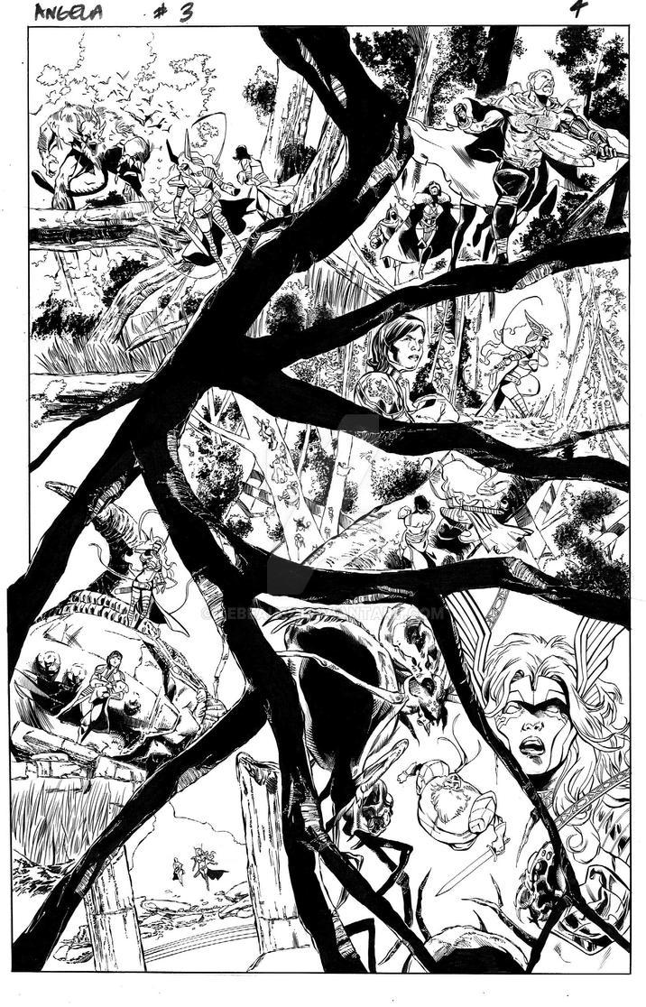 Angela: Asgard's Assassin #3, pg 4 inks by lebeau37