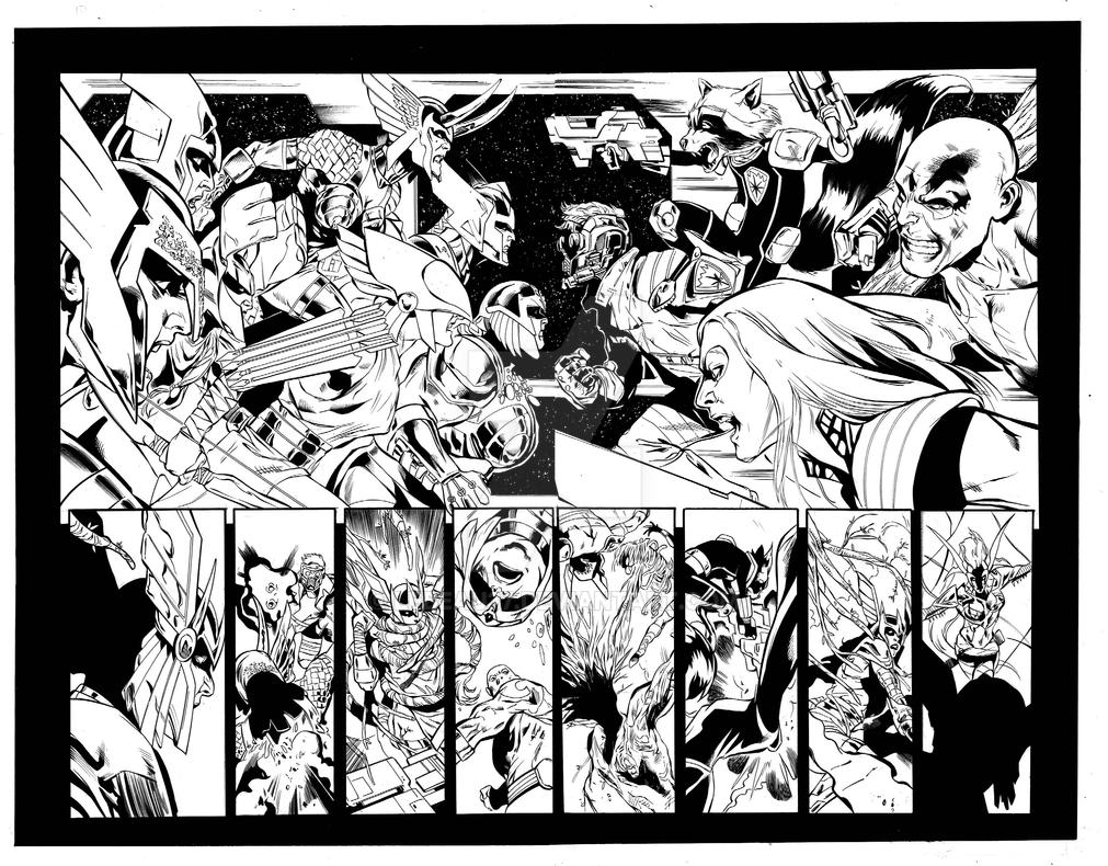 Angela: Asgard's Assassin #4, pgs 10 and11 inks by lebeau37