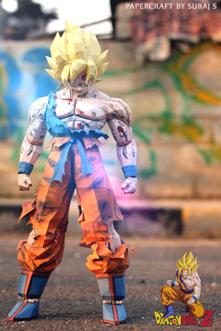 Goku Super Saiyan Papercraft by suraj281191