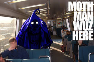 Mothman rides the BART by MorganLuthi