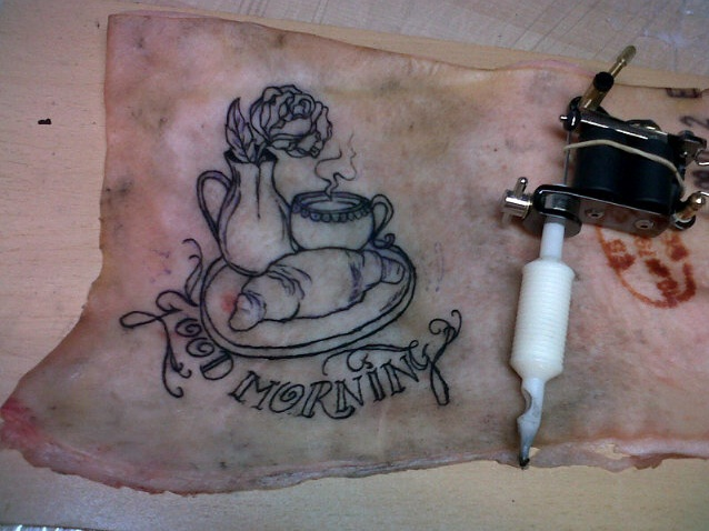 Good morning on pig skin lines by stephanieflare on deviantart for Pig skin tattoo