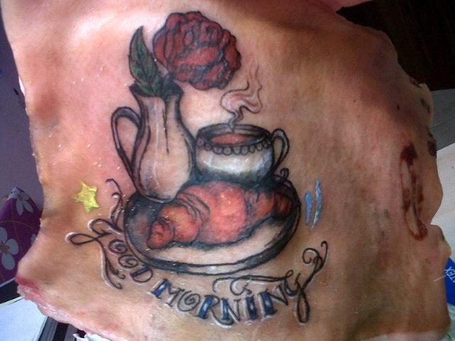 Good morning on pig skin by stephanieflare on deviantart for Pig skin tattoo
