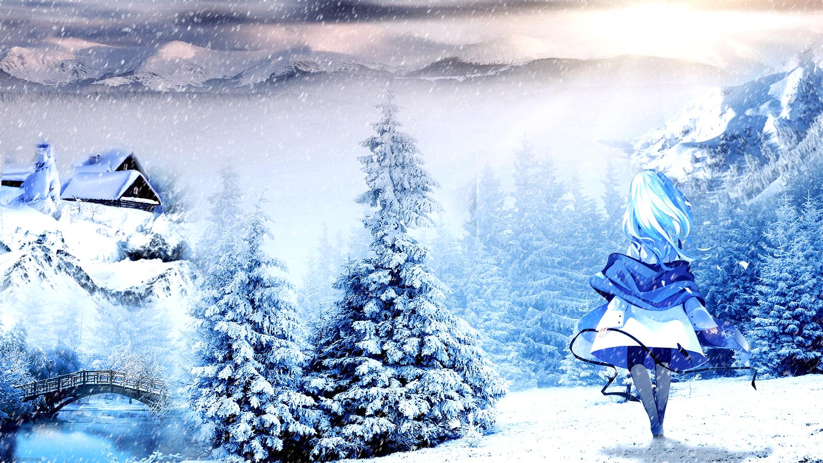 Winter anime wallpaper by atndesign on deviantart - Winter anime girl wallpaper ...