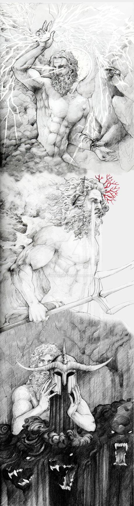 Zeus-Poseidon-Hades by llewllaw