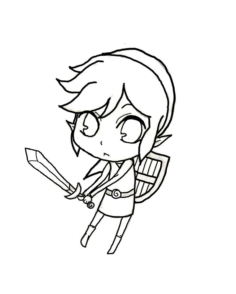 Line Drawing In Qt : Chibi link line art by bnha on deviantart