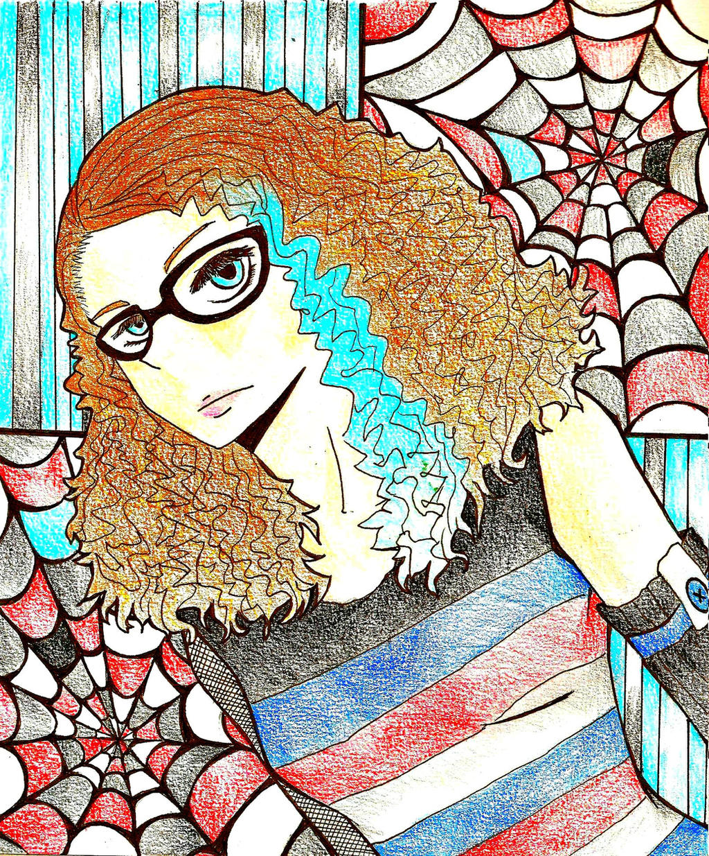 HBD Chick With Curly Hair and Spider Webs by bnha