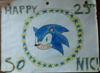 Sonic's 25th Anniversary artwork colored by FoxaBeeNeeOwnYes