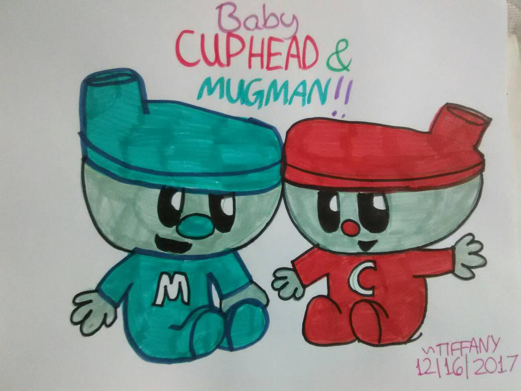 baby cuphead and mugman bendy and cuphead t