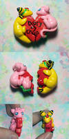 Mew and Ampharos Heart Charms