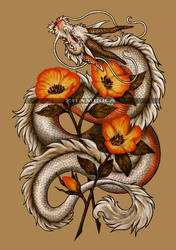 White dragon and flowers by Zhamiska