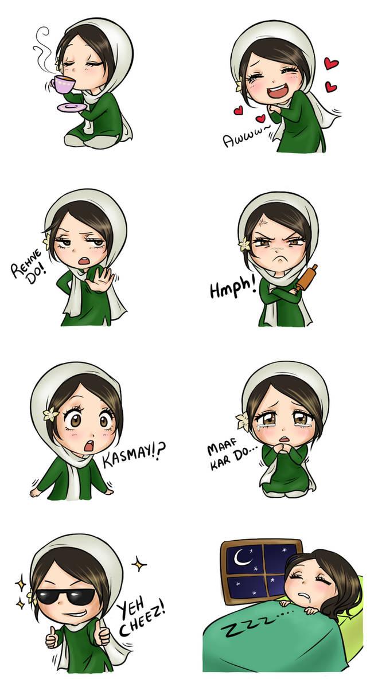 Line stickers pakistani girl by mari945