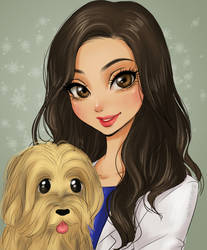 Girl with her doggy