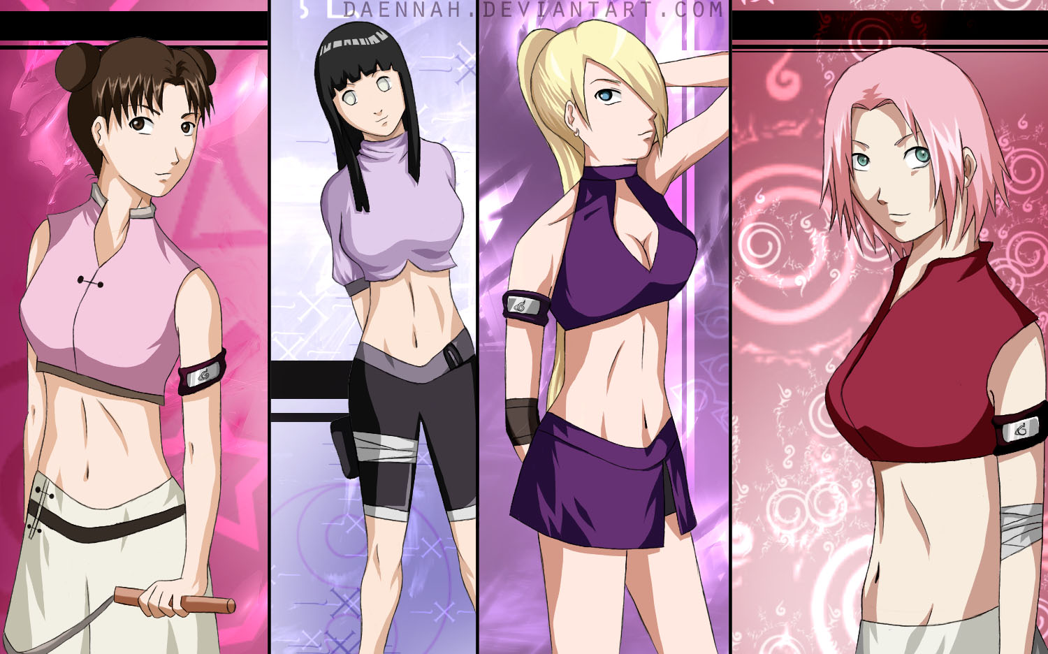 صور بنات ناروتو Naruto_girls_colored_by_daennah