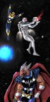 Rom spaceknight/Nova/Beta Ray Bill team up sketch by nikoskap