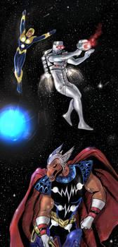 Rom spaceknight/Nova/Beta Ray Bill team up sketch