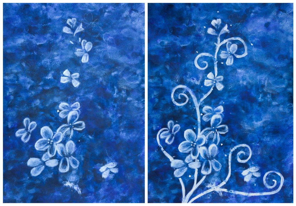 Night Flower Swirls in Progress by CharmyRaven