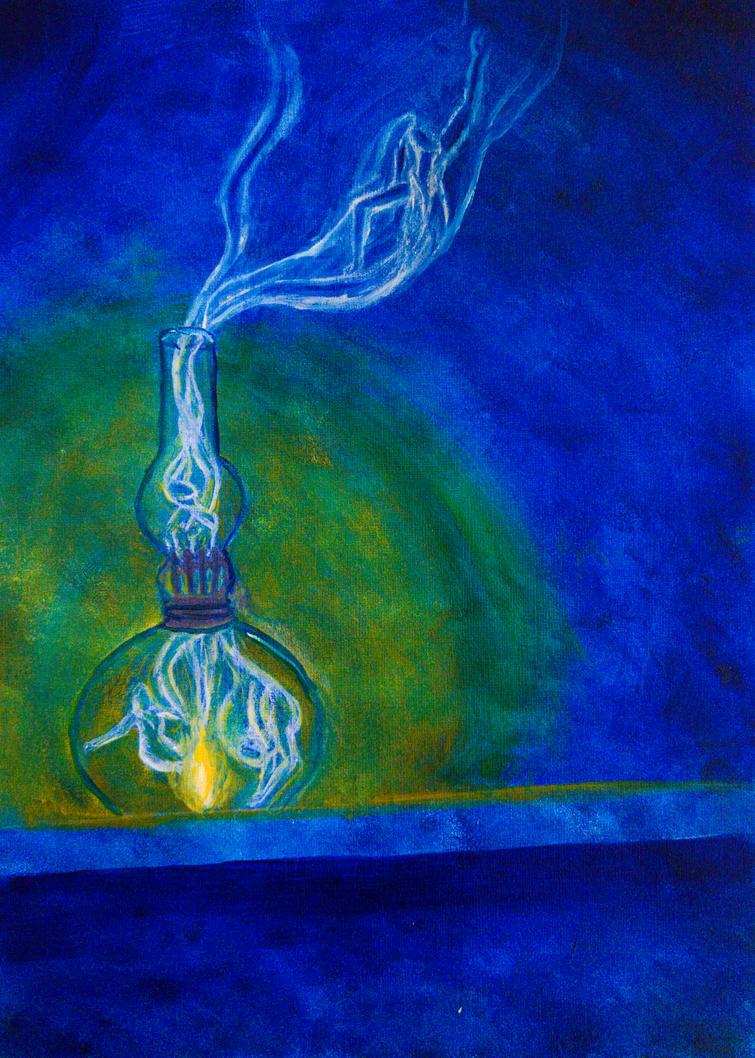 Genie in the lamp wip by Charlene-Art