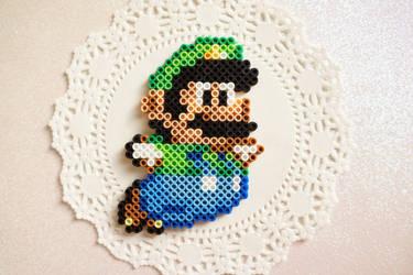 Luigi Perler Bead Sprite by knitsandperls