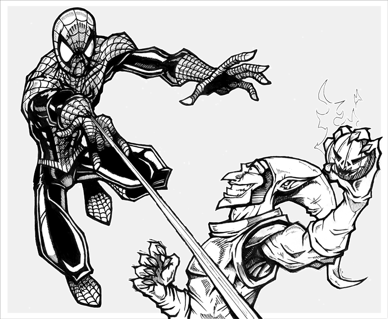 spiderman vs green goblin coloring pages spiderman vs green goblin by agentmorrison on deviantart