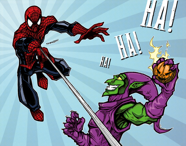 Spider man vs green goblin color by agentmorrison on for Spiderman vs green goblin coloring pages