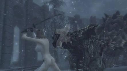 Nowan Mystiere uses Ebony Blade on Elder Dragon by IndigoMystiere