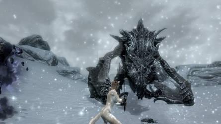 Nowan battles Alduin in the mortal world by IndigoMystiere