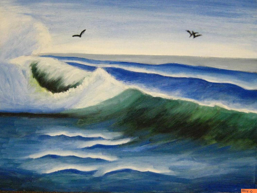 oil painting: ocean waves by al1563 on DeviantArt