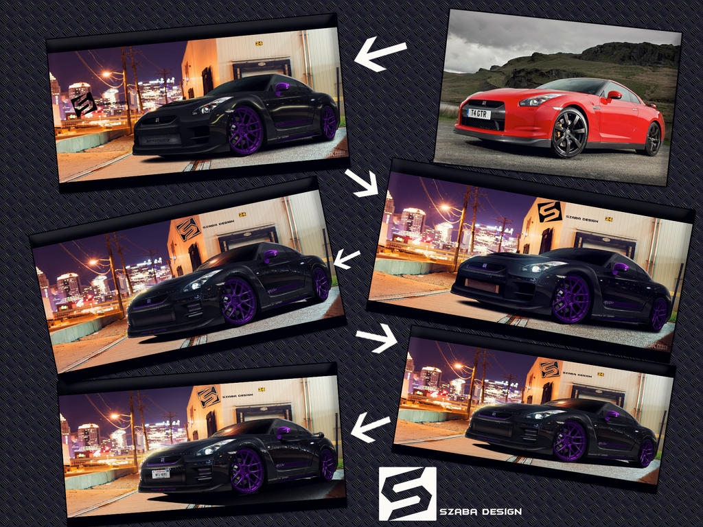 Nissan GT-R Purple Style WIP Process by Szaba18