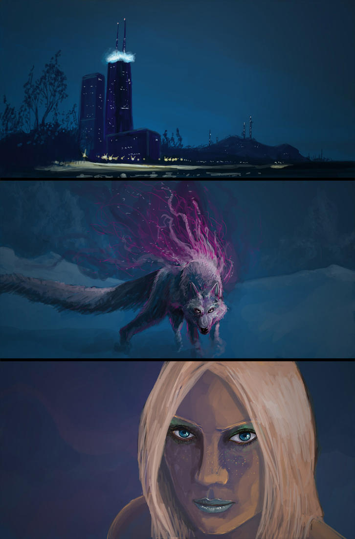 A city, A spirit wolf, An unamused lady by kalliikak