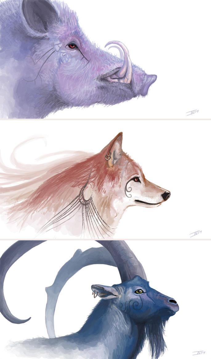Boar, Wolf, Ram by kalliikak