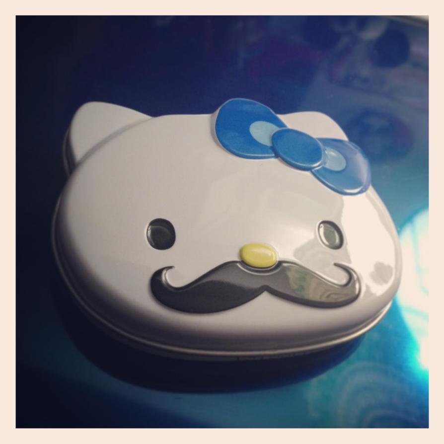 Hello Kitty Mustache Tin by firegirl1995