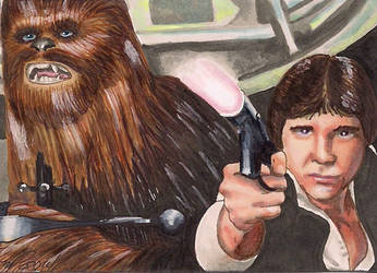 Han Solo Chewbacca Star Wars by Purple-Pencil