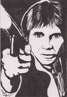 Han Solo Black and White Brush Pen