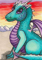 Dragon - Cute with glitter by Purple-Pencil