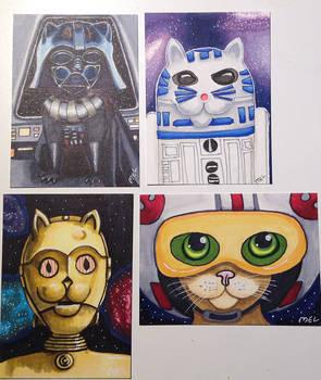Star Wars Cats - R2D2 C3P0 Darth Vader Luke Pilot