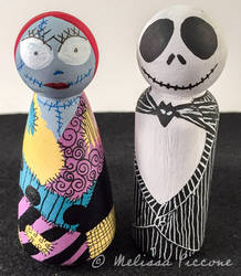 Jack and Sally Peg dolls