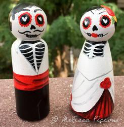 sugar skull peg dolls