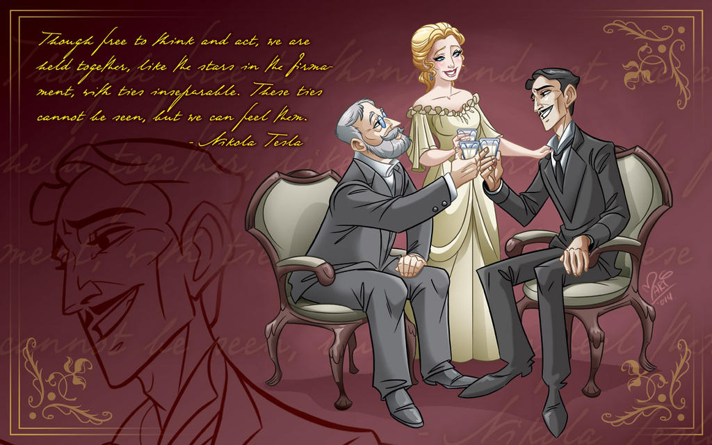 Nikola Tesla with Robert and Katharine Johnson by marimoreno