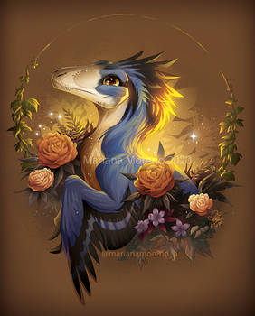 Raptor and Flowers
