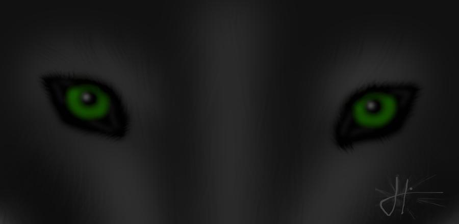 black wolf green eyes-#29