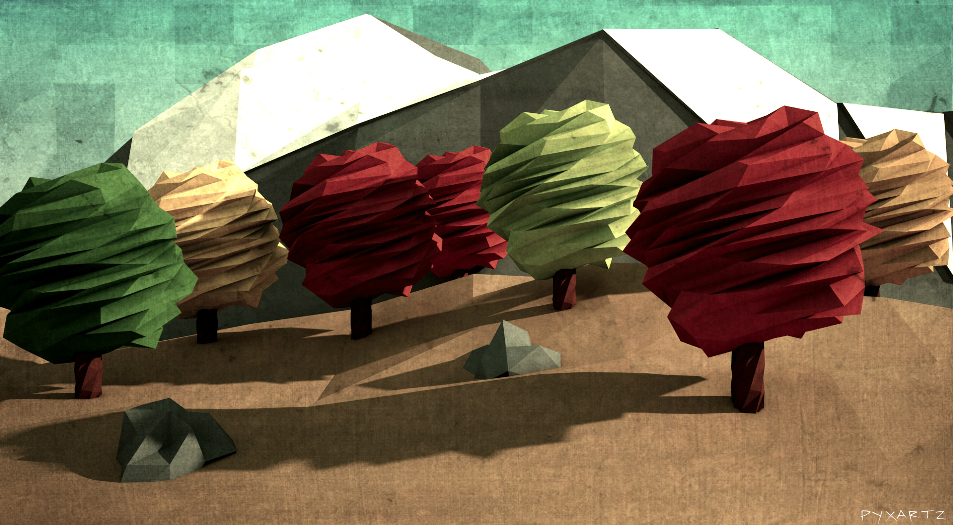 Low Poly Autumn Trees. by pyxArtz