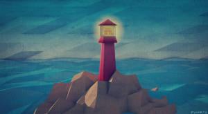 Low Poly Lighthouse on Rocks.