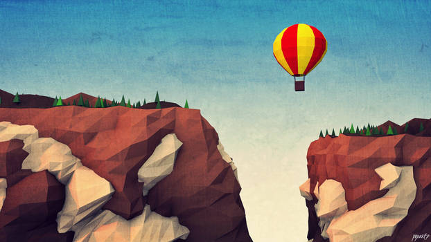 LOW POLY CLIFFS AND BALON.