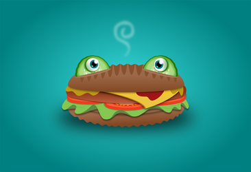 Cheeseburger Frog by wildgica