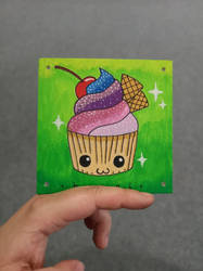 Kawaii Cupcake on wood by wildgica