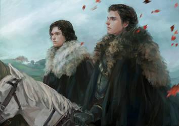 Robb stark Jon Snow by aprilis420