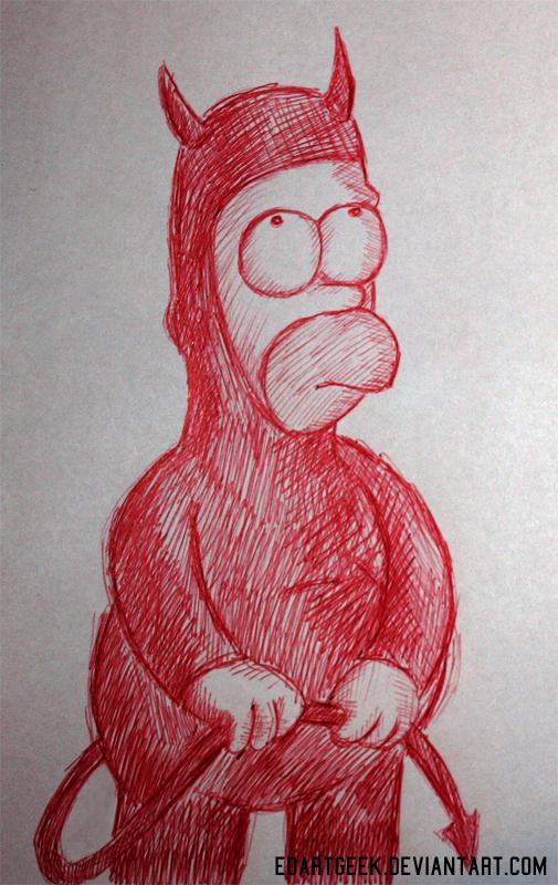 Devil Homer doodle by EdArtGeek